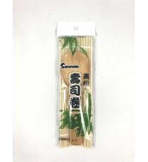 Kit natte et cuillère en bambou pour sushi SADOMAN