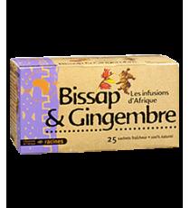 Thé Bissap et Gingembre - 25 sachets x 1.6g - RACINES 40g
